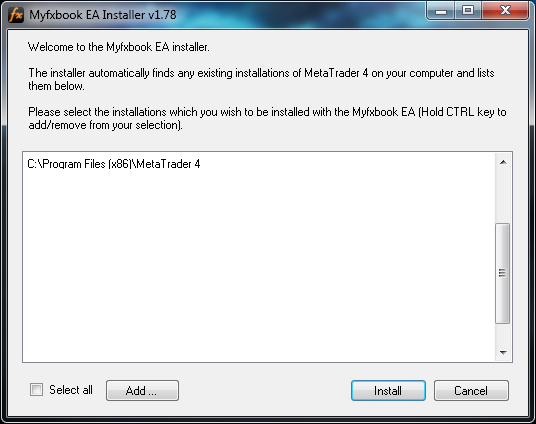 Metatrader publisher/EA connection wizard and troubleshooter